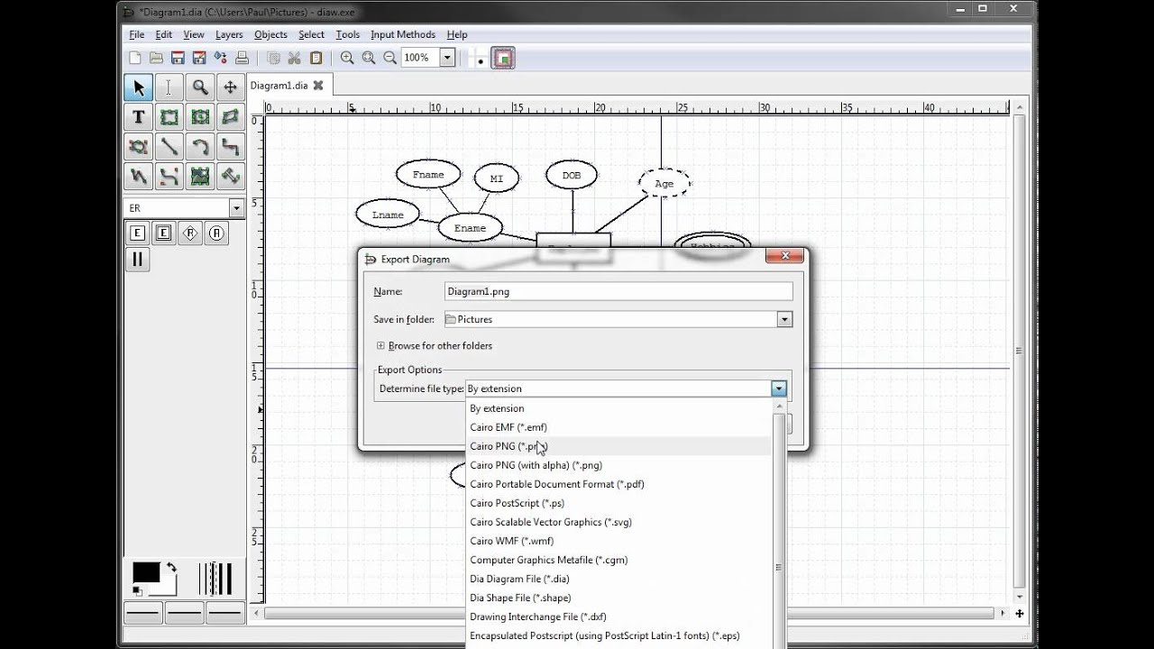 Er diagrams in dia exporting your diagram youtube er diagrams in dia exporting your diagram ccuart Images