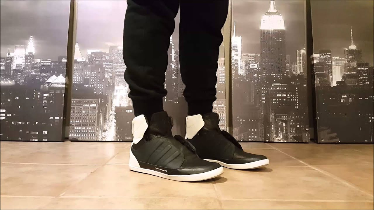 81a6f4551c113 Adidas Y-3 Yohji Yamamoto Honja High in Black White (ON FEET) - YouTube