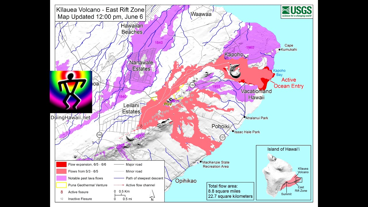 Hawaii Map Lava.Hawaii Kilauea Volcano Eruption Usgs Lava Flow Map Progression 5 4 7