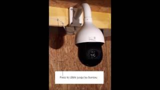Pose caméra motorisée surveillance bâtiment d'élevage