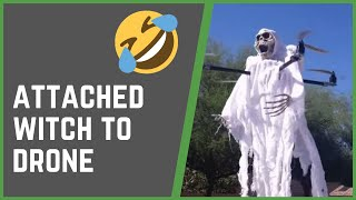 SCARY WITCH ATTACHED TO DRONE | FUNNY PRANKS