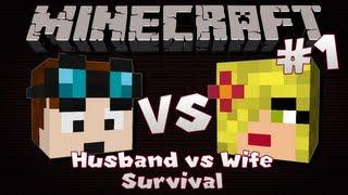 Minecraft | Husband VS Wife SURVIVAL | Episode 1 | Fast Food