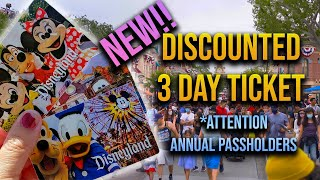 Disney announces 3 day discounted ticket | Connections to Annual Passes!