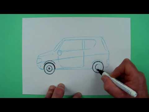 Wie zeichnet man ein einfaches Auto ? Zeichnen für Kinder