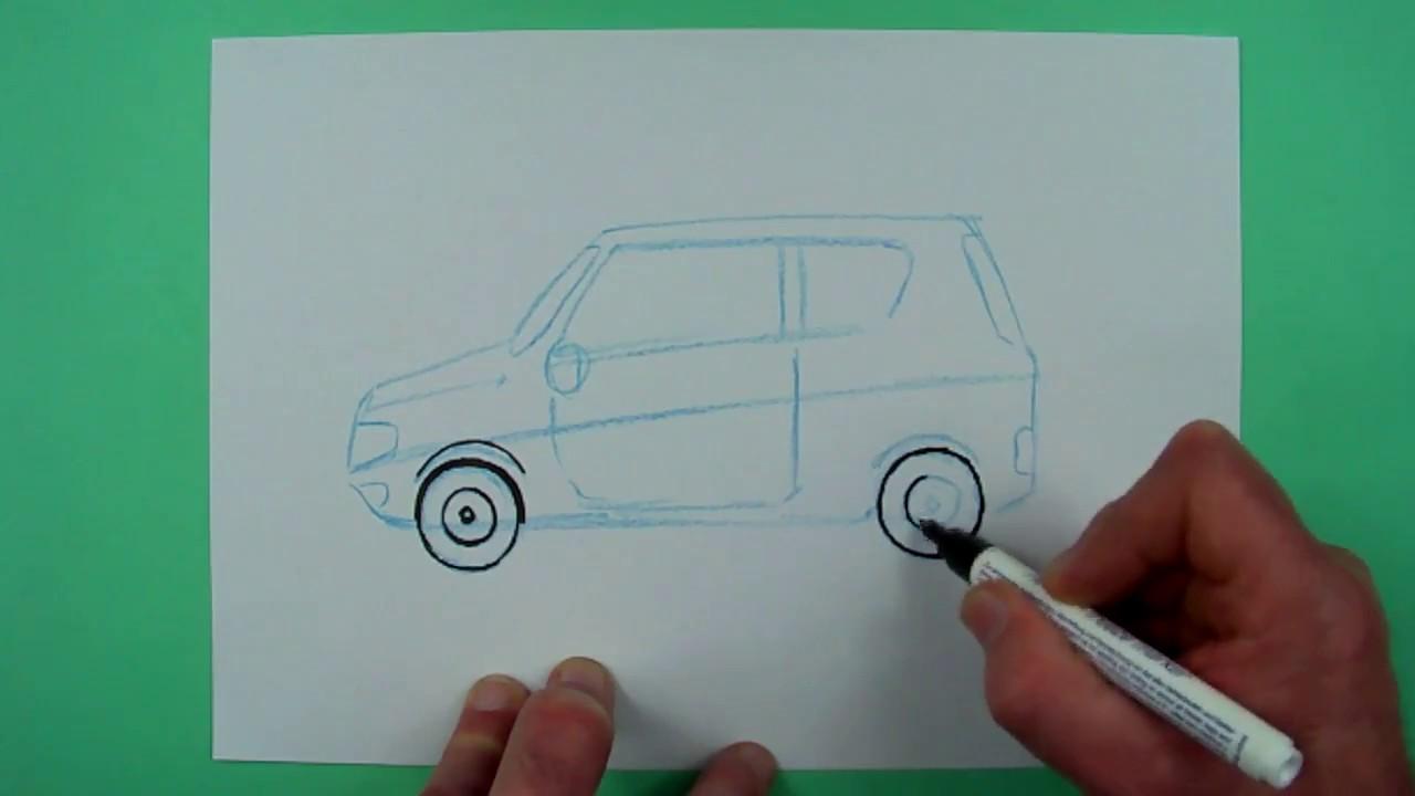 Wie zeichnet man ein einfaches Auto ? Zeichnen für Kinder - YouTube