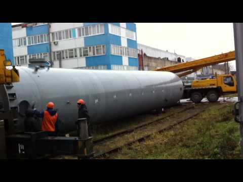 Разгрузка ресивера азота 50тонн с ж/д платформы