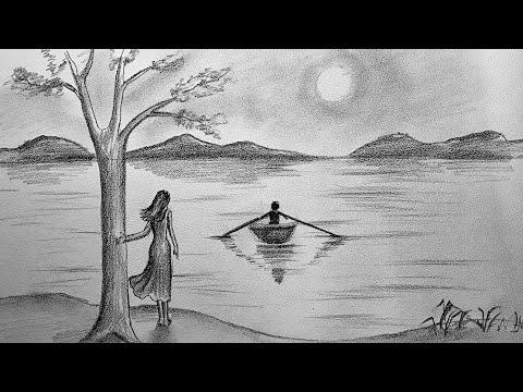 Karakalem Manzara Çizimi - Kız ve Erkek - How to draw scenery of Moonlight night by pencil sketch