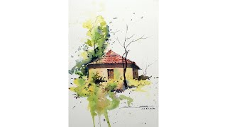 Easy hut landscape in watercolors for beginners by sikander singh chandigarh India