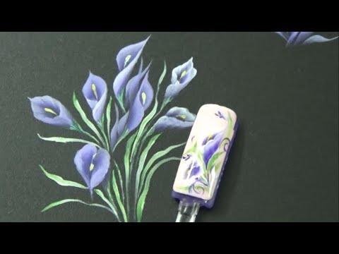 Học vẽ cọ bản Bài 6: Vẽ hoa rum nghiêng | Vẽ móng tay - Nail Phương Lê