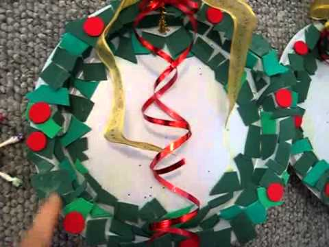 Christmas Arts And Crafts Colored Paper Disposable Plate Ribbon Wreath