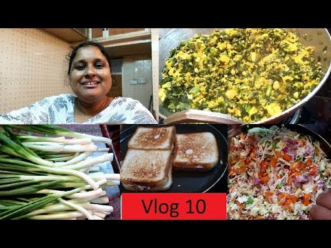 Vlog 10/Spring Onion Thoran/How to clean Spring Onion/Easy Sandwich/ my make up/