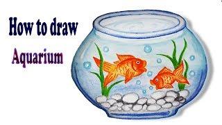 How to draw Aquarium .Step by step (Easy draw).