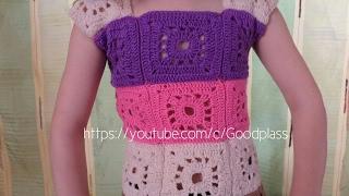 Ажурная жилетка на девочку. Вязание детской безрукавки крючком. Вязание из мотивов.