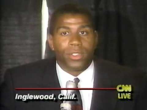 Magic Johnson announces retirement due to HIV CNN 1991 ...Magic Johnson Aids