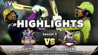 Quetta Gladiators Vs Lahore Qalandars Full Match Highlights Match 21 7 March HBL PSL 2020