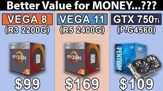 Vega 8 (R3 2200G) OC vs Vega 11 (R5 2400G) OC vs GTX 750 Ti (G4560) OC | New Games Benchmarks