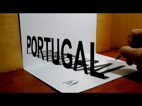 How to Draw PORTUGAL 3D Trick Art 3D Drawing, Country Names