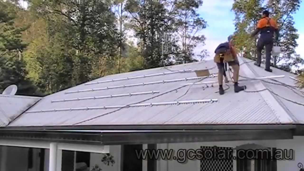 Solar Power Installation On Corrugated Iron Roof Youtube