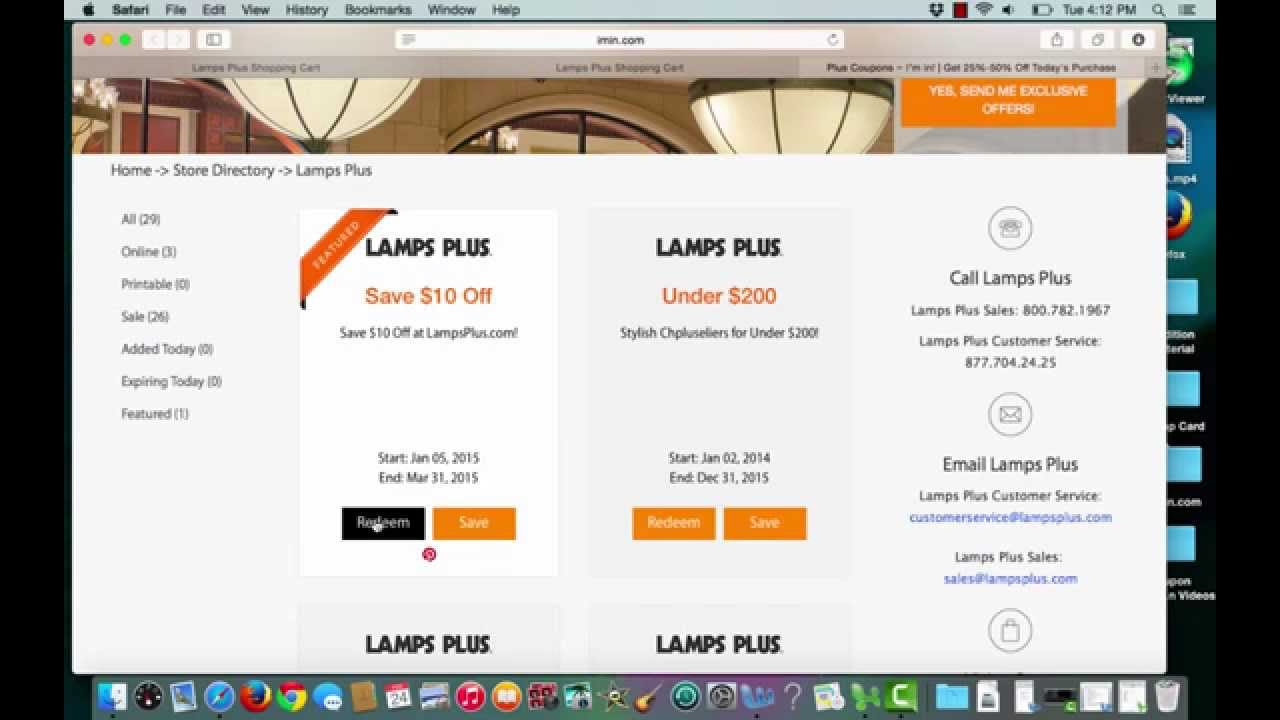 Lamps Plus Coupon verification by I'm in