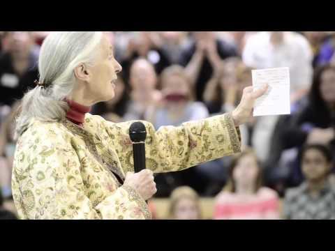 Jane Goodall speaks at Whittier International School in Boulder