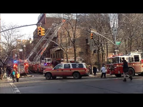 FDNY 10-75 All Hands Fire In A Laundry Mat In Lower Manhattan on West 4th Street