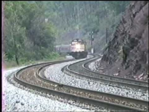 Thumbnail: Amtrak's Capitol Limited, P030 239-269 Exits Sand Patch tunnel 9/26/1989..