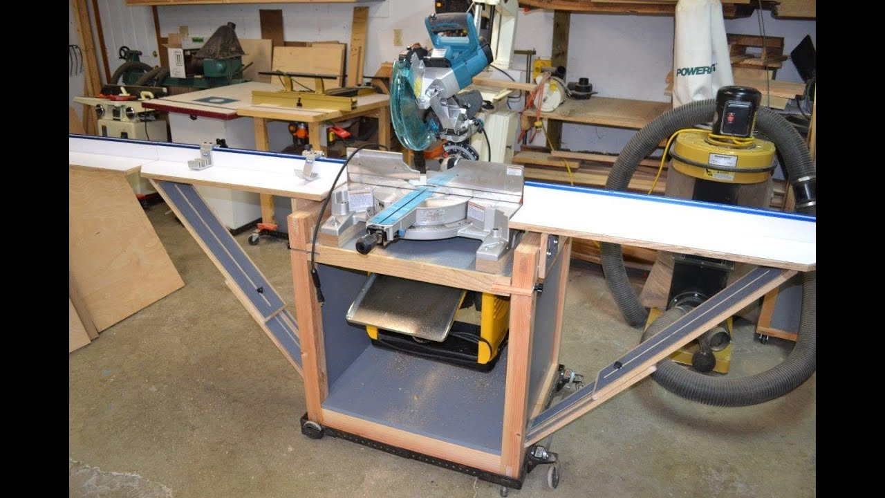Awesome Combination Saw Bench Part - 3: Miter Saw Stand/Planer Station With Rotating Top - YouTube