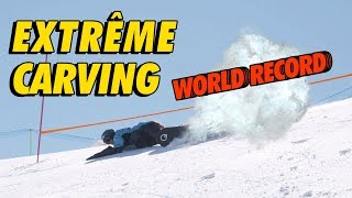 RECORD MONDIAL EXTREME CARVING SNOWBOARD !