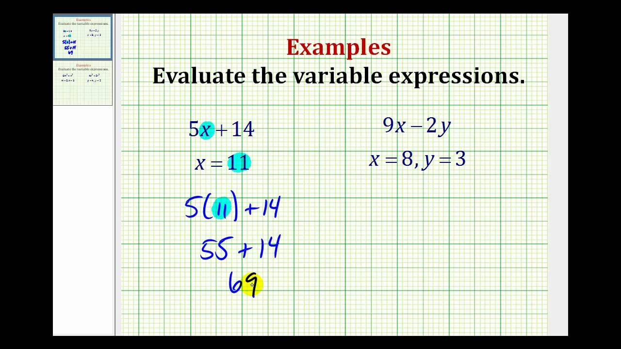 writing and evaluating variable expressions