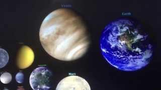 Solar System Celestial Bodies Size Comparison