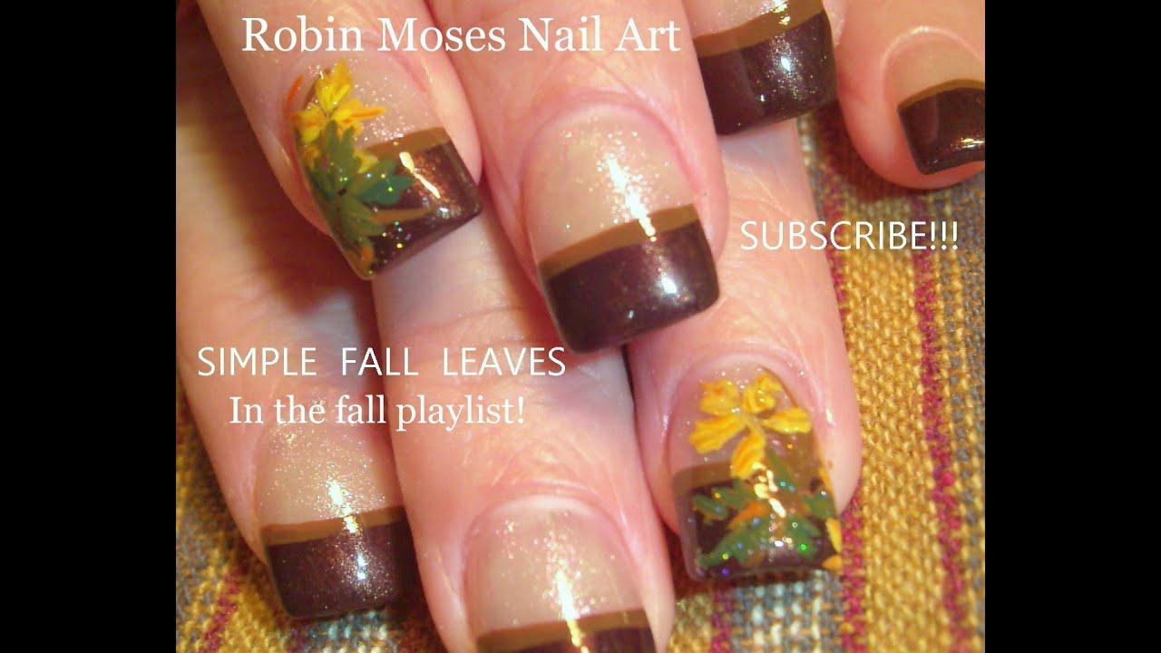 Easy Fall Leaf Nail Art Thanksgiving Nails Design Tutorial Youtube