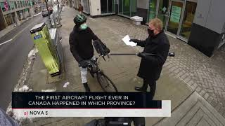 The first aircraft flight ever in Canada happened in which province? | Outburst