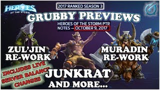 Grubby   Heroes of the Storm   9-Oct PTR Patch Notes - Zul'jin and Muradin Reworks! and Junkrat
