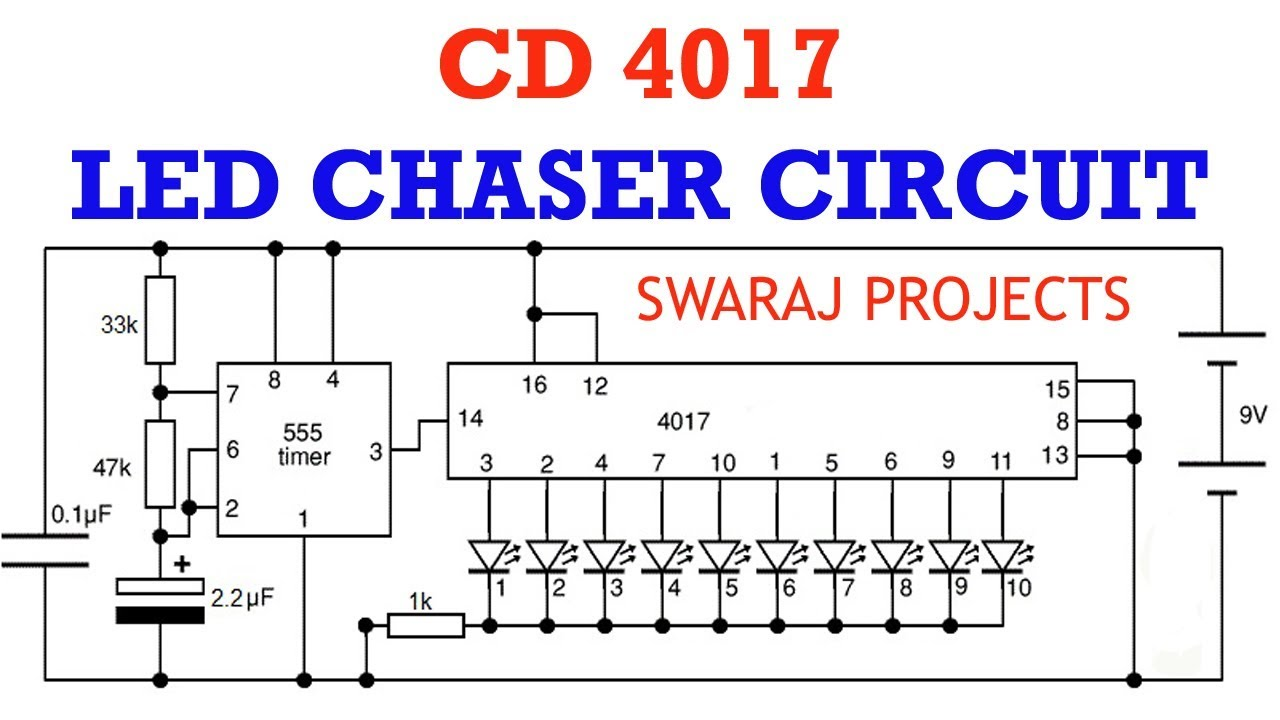 how to make led chaser circuit running light using ic 4017 ic circuit diagram led chaser [ 1280 x 720 Pixel ]