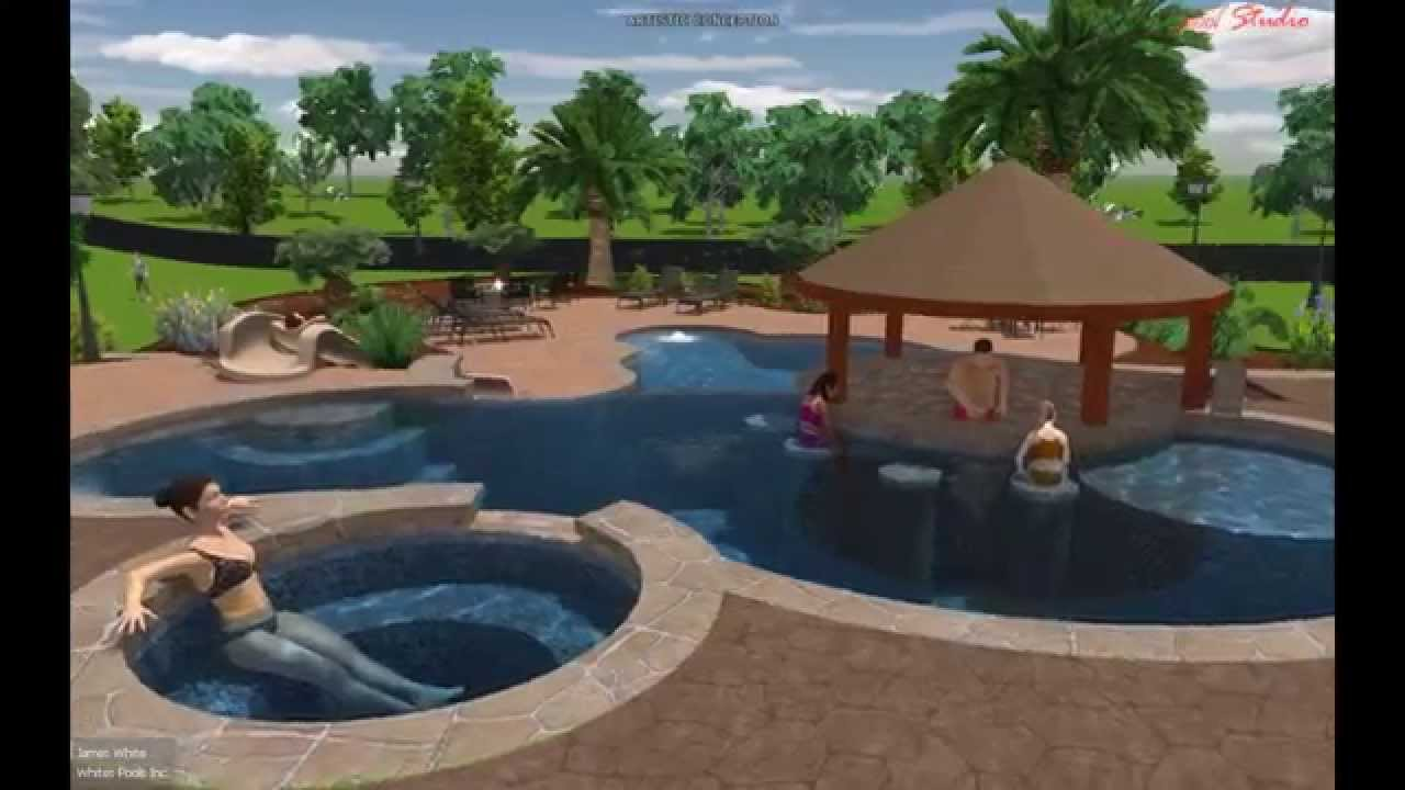 Bigles design with swim up bar youtube for Pool design swim up bar