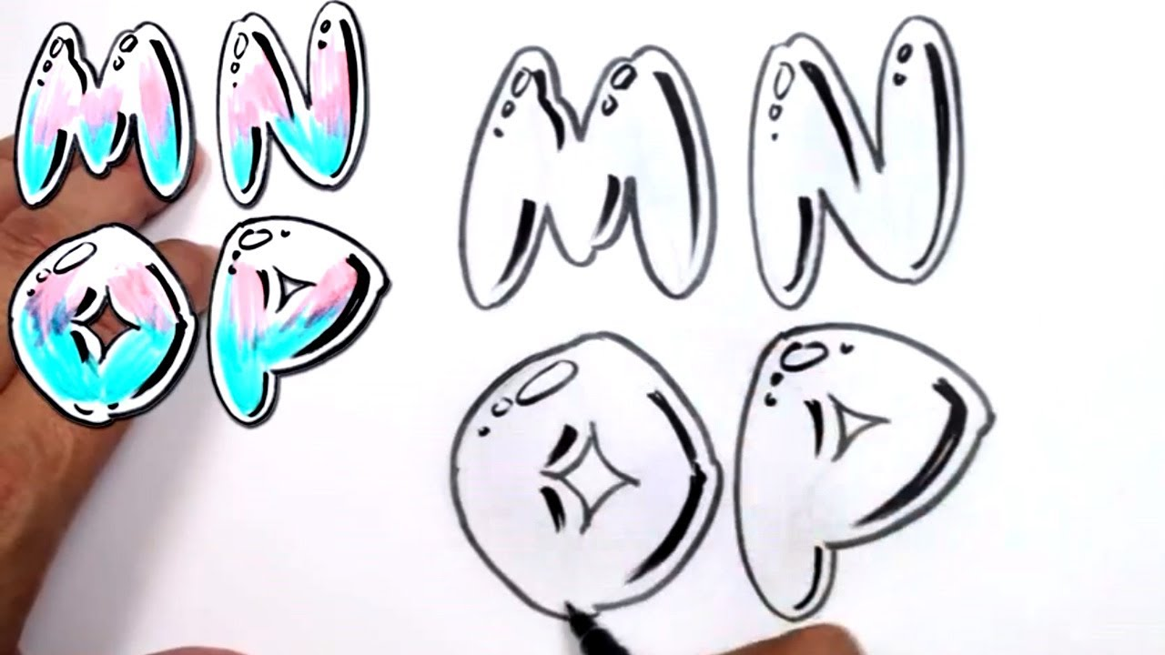Graffiti Letters Alphabet Bubble M N O P
