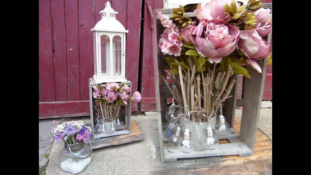Diy Shabby Chic Weinkisten Regal Deko Lampe In Upcycling