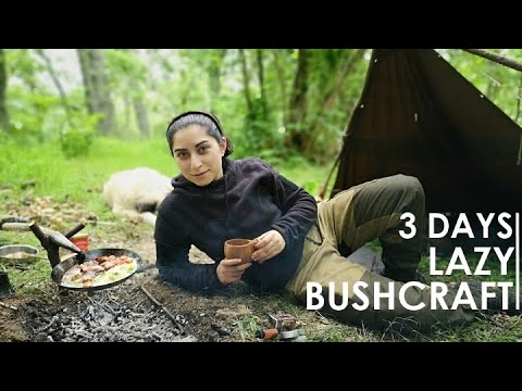 3 DAYS SOLO BUSHCRAFT OVERNIGHT – SHELTER, BONE STEAK COOKING, WOODWORKING etc [Full documentary]