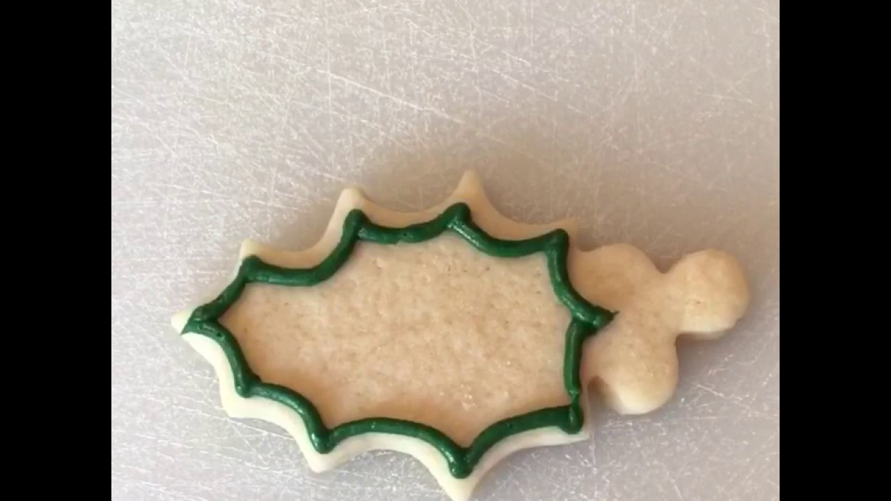 Holly Christmas Cookie Buttercream Frosted Tutorial