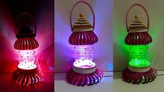 DIY-Lantern/Tealight Holder made from Plastic Bottles   Plastic bottle ka lantern Banane ka Tarika