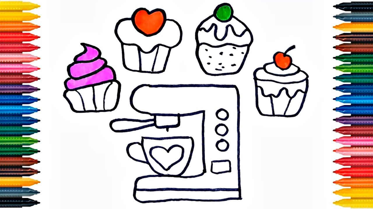Ice Cream Served With Wafer And Whipped Cream Coloring Page - Free ... | 720x1280