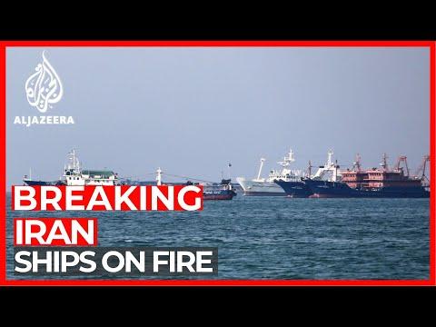 Three ships on fire at Iranian port