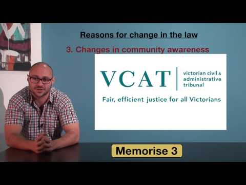 VCE Legal Studies - Reasons for change in the law