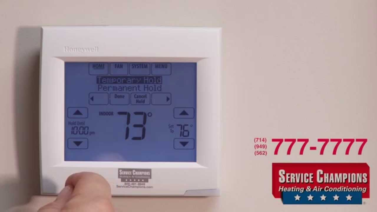 New honeywell th 8000 thermostat service champions heating air conditioning youtube for Th 450 termostato