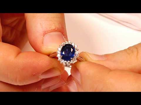 14kt White Gold With 0.32cts Diamonds Sapphire Ring