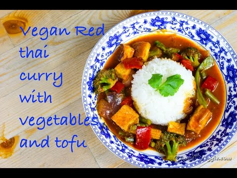 Vegan/vegetarian Red thai curry with vegetables and tofu by crazy4veggie.com