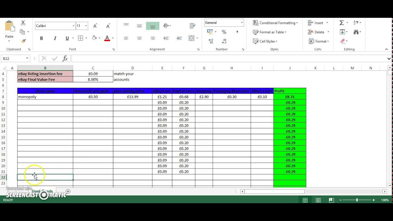 ebay and paypal excel spreadsheet with free download youtube