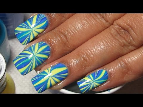 Bright Burst Water Marble Nail Art Tutorial