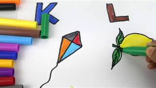 Drawing Alphabets for Learning Colors and Coloring Pages a Kite and Lemon for Kids
