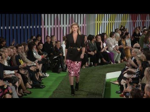 Lara Stone, joan Smalls on the runway of Escada Fashion Show